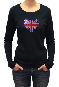 Love UK (Union Jack) T-shirt Diamante, Men's T-shirt, Women's T-shirt, T-shirt UK, T-shirt London, Savage London.