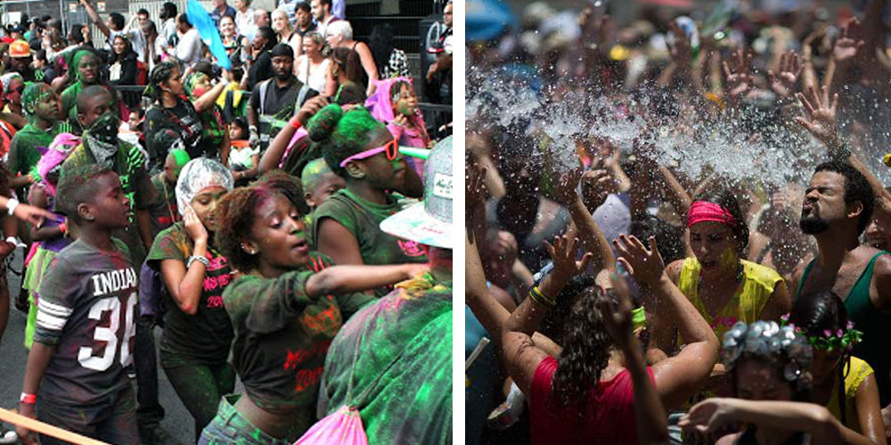 Notting Hill carnival on the left - Rio carnival on the right.